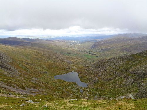 Looking down at Ffynnon Lloer