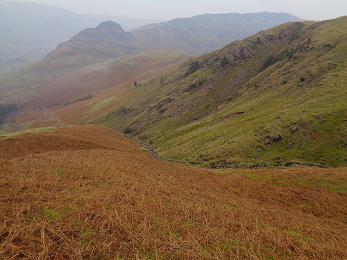 Looking back during the initial ascent to Pike of Blisco
