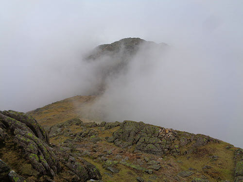 The mist parts on Crinkle Crags
